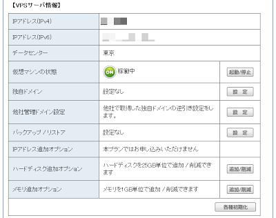 VPSサーバー情報